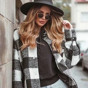 Boyfriend Fit Plaid Jacket Coat Black White